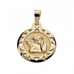 Medalla colgante oro 9k angelito 18mm. redondo centro liso borde calado formas
