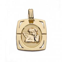 Medalla oro 9k colgante 20mm. angelito forma rectangular esquinas caladas