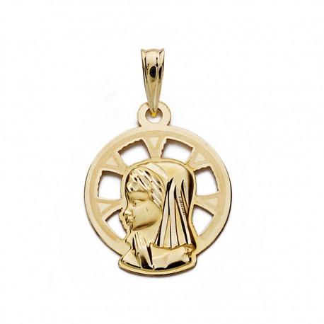 Medalla oro 9k Virgen Niña 18mm. [AA0744]