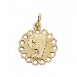 Medalla colgante oro 9k Virgen Niña 18mm. redondo cerco forma lágrima calada centro liso