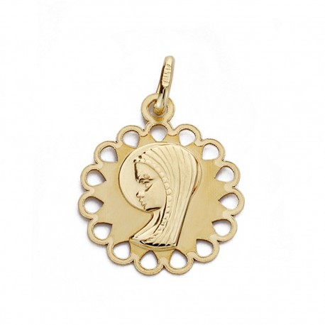Medalla oro 9k Virgen Niña cerco 18mm. [AA0749]