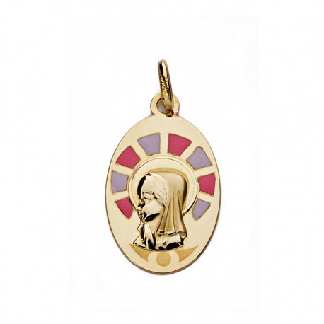 Medalla oro 9k Virgen Niña 21mm. [AA0756]