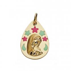 Medalla oro 9k esmaltada 19mm. Virgen Niña forma lágrima flores zules rojizas
