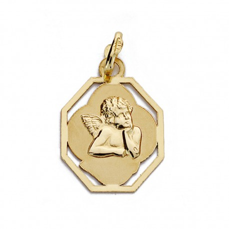Medalla oro 9k angelito 18mm. [AA0781]