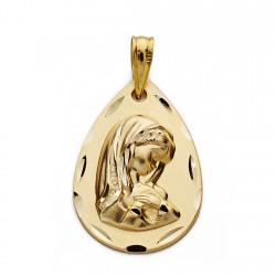 Medalla oro 9k Virgen Niña 21mm. [AA0832]