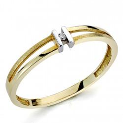 Sortija oro bicolor 18k 1 diamante brillante 0,0136ct [7299]