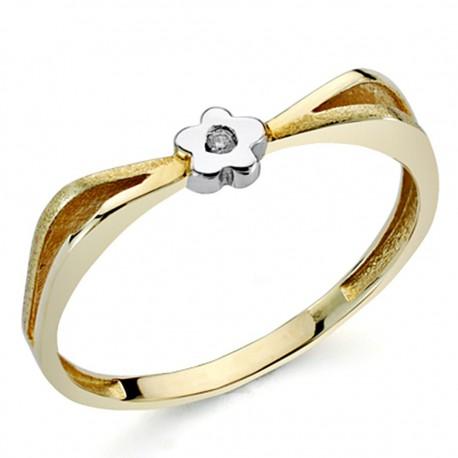 Sortija oro bicolor 18k 1 diamante brillante 0,01ct [7300]