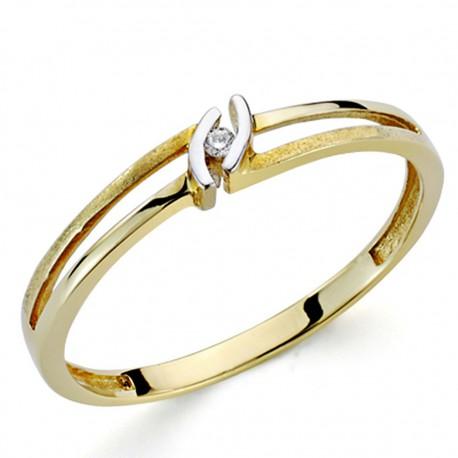 Sortija oro bicolor 18k 1 diamante brillante 0,014ct [7301]