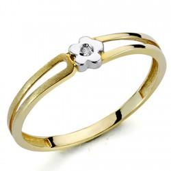 Sortija oro bicolor 18k 1 diamante brillante 0,01ct [7302]