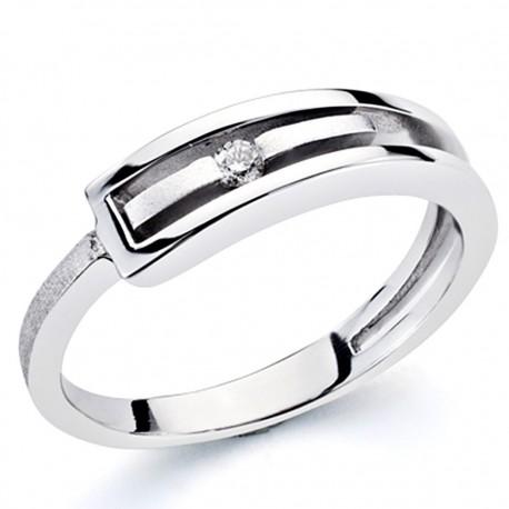 Sortija oro blanco 18k 1 diamante brillante 0,046ct [7309]