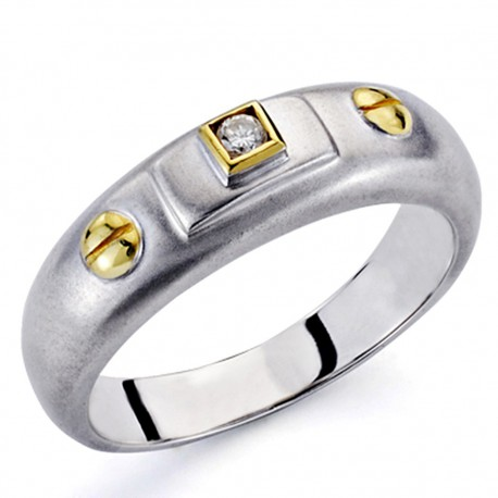 Sortija oro bicolor 18k 1 diamante brillante 0,03ct [7313]