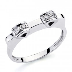 Sortija oro blanco 18k 4 diamantes brillantes 0,1ct [7316]