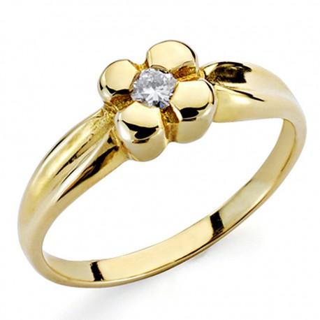 Solitario oro 18k 1 diamante brillante 0,1ct [7321]