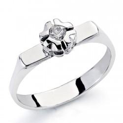 Solitario oro blanco 18k 1 diamante brillante 0,1ct [7323]