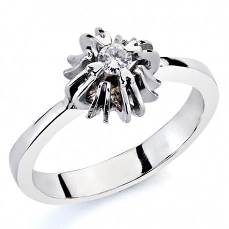 Solitario oro blanco 18k 1 diamante brillante 0,1ct [7324]
