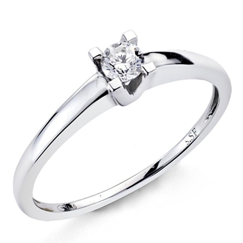 add8d43f1718 Solitario oro blanco 18k 1 diamante brillante 0