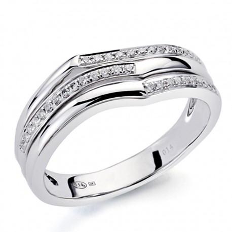 Sortija oro blanco 18k 38 diamantes brillantes 0,13ct [7339]