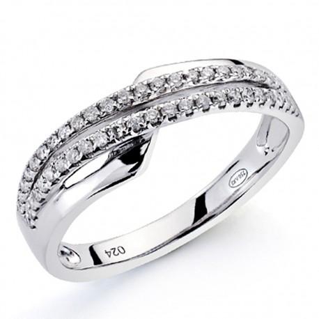 Sortija oro blanco 18k 50 diamantes brillantes 0,2ct [7340]