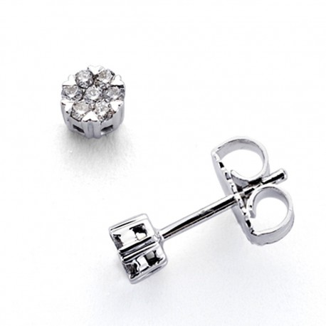 Pendientes oro blanco 18k 14 diamantes brillantes 0,15ct [7346]