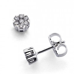 Pendientes oro blanco 18k 14 diamantes brillantes 0,27ct [7347]