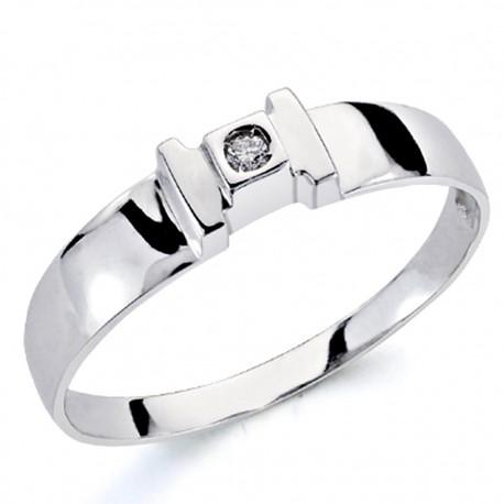 Solitario oro blanco 18k 1 diamante brillante 0,04ct [7352]