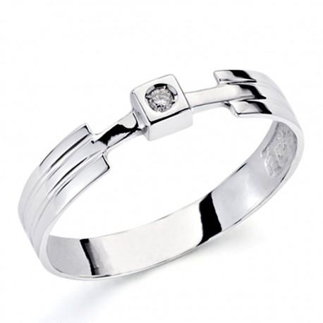 Solitario oro blanco 18k 1 diamante brillante 0,04ct [7354]