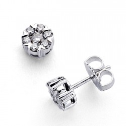 Pendientes oro blanco 18k 14 diamantes brillantes 0,526ct [7364]