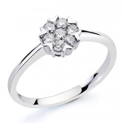 Sortija oro blanco 18k 7 diamantes brillantes 0,27ct [7365]