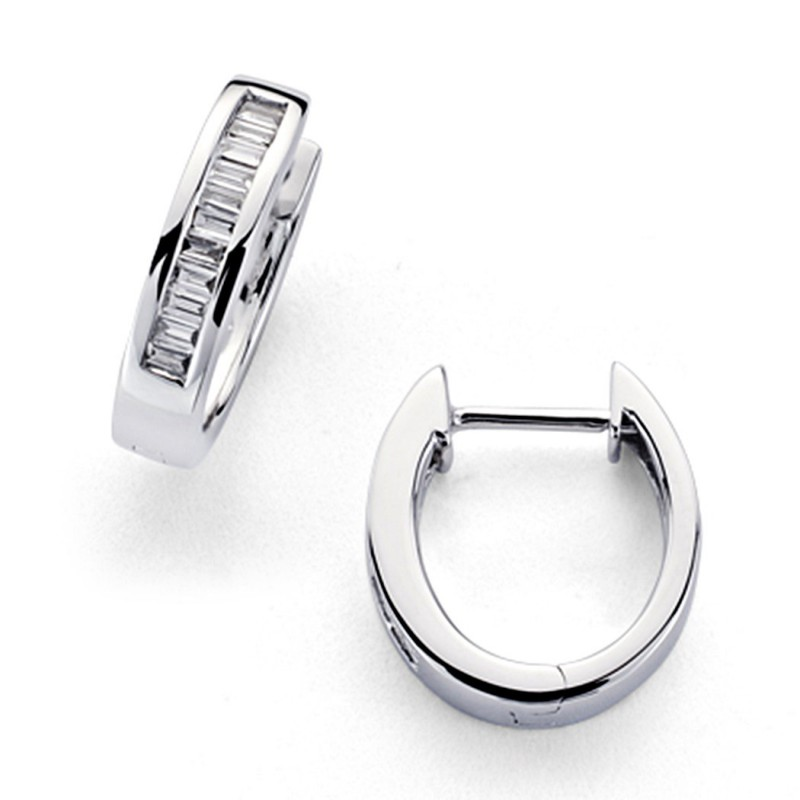 354fad2c1897 Pendientes oro blanco 18k aros diamantes carré 0