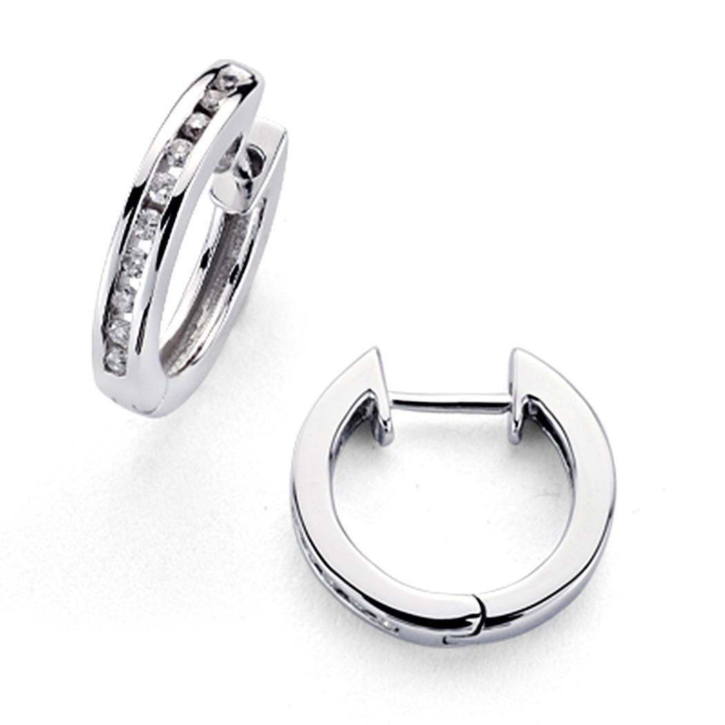 Pendientes Oro Blanco 18k Aros 20 Diamantes Brillantes 0 15ct 7368