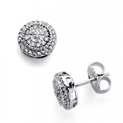 Pendientes oro blanco 18k diamantes brillantes 0,31ct [7371]