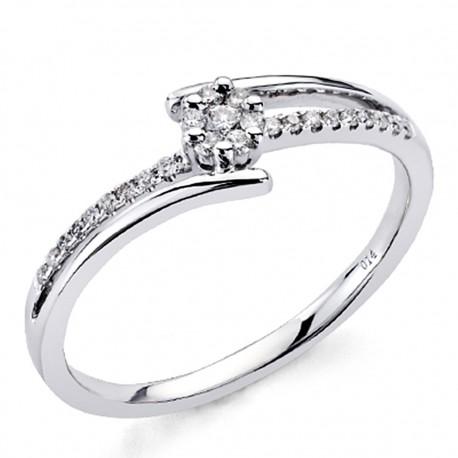 Sortija oro blanco 18k diamantes brillantes 0,13ct [7376]