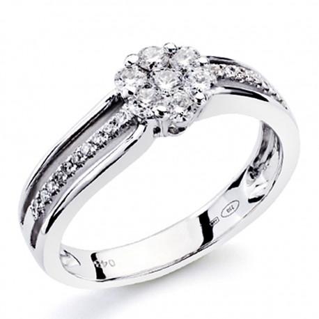 Sortija oro blanco 18k diamantes brillantes 0,43ct [7378]