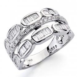 Sortija oro blanco 18k diamantes brillantes carré 0,57ct [7379]