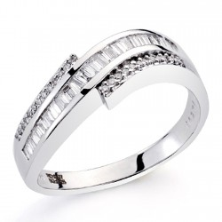 Sortija oro blanco 18k diamantes brillantes carrés 1,01ct [7381]