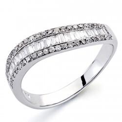 Sortija oro blanco 18k diamantes brillantes carrés 0,48ct [7382]