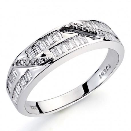 Sortija oro blanco 18k diamantes brillantes carrés 0,44ct [7383]