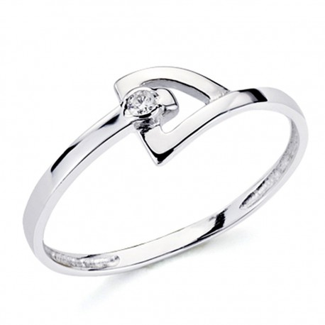 Sortija oro blanco 18k 1 diamante brillante 0,018ct [7386]