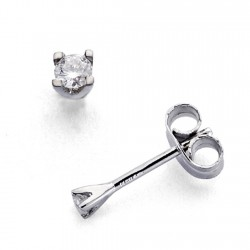 Pendientes oro blanco 18k 2 diamantes brillantes 0,11ct [7406]