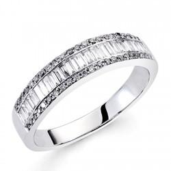 Sortija oro blanco 18k diamantes brillantes carrés 0,45ct [7408]