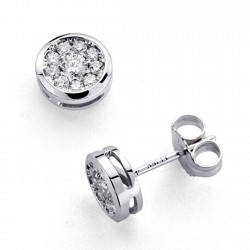 Pendientes oro blanco 18k diamantes brillantes 0,33ct [7419]