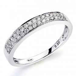 Sortija oro blanco 18k diamantes brillantes 0,2ct [7420]
