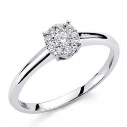 Sortija oro blanco 18k 10 diamantes brillantes 0,15ct [7423]