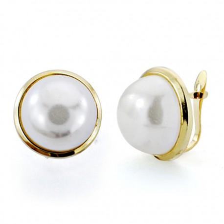 Pendientes oro 18k perla falsa 12mm. cierre catalán [7434]