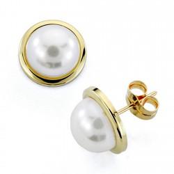 Pendientes oro 18k perla falsa 12mm. cierre presión [7435]