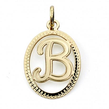 Colgante oro 18k inicial letra B 21mm. [7459]