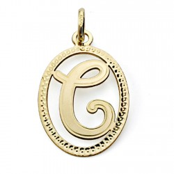 Colgante oro 18k inicial letra C 21mm. [7460]