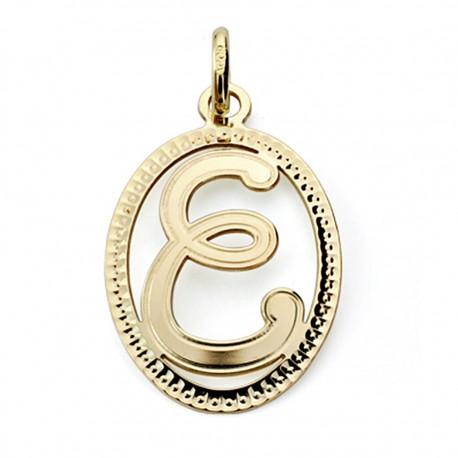 Colgante oro 18k inicial letra E 21mm. [7462]