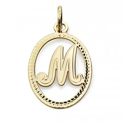 Colgante oro 18k inicial letra M 21mm. [7466]
