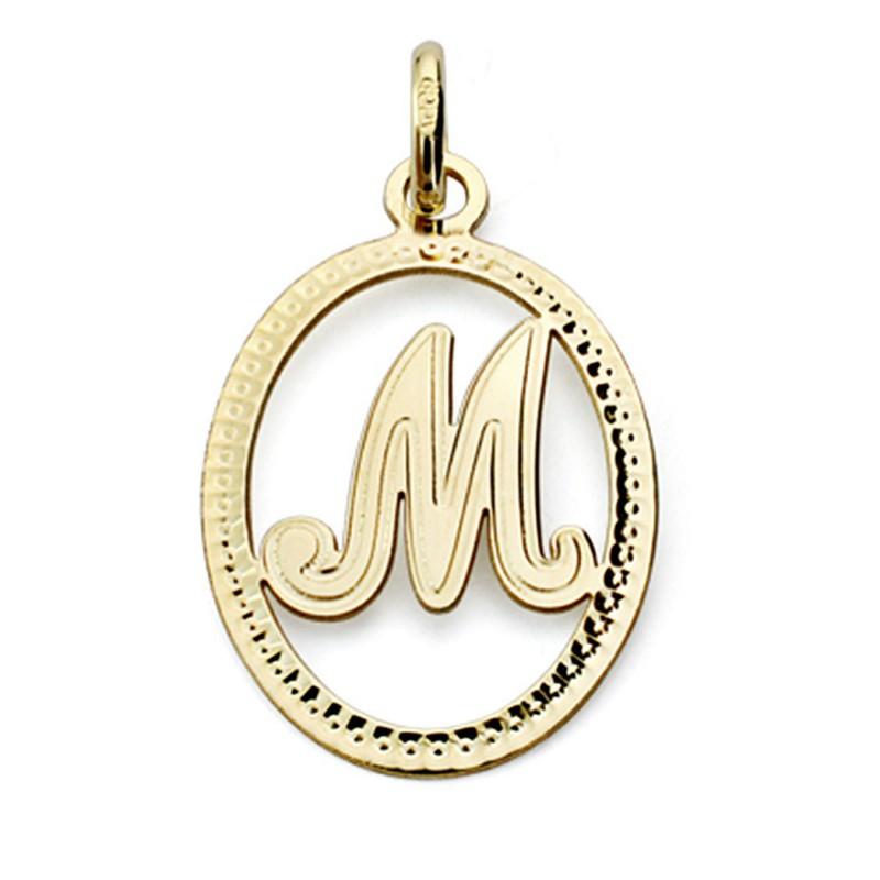 Productos Garantía de calidad 100% invicto x Colgante oro 18k inicial letra M 21mm. [7466]